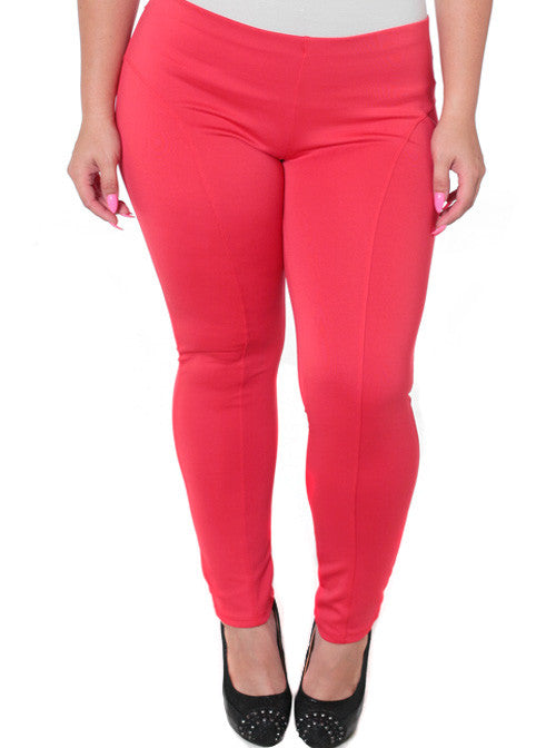 Plus Size Stretchy Soft Coral Skinny Pants