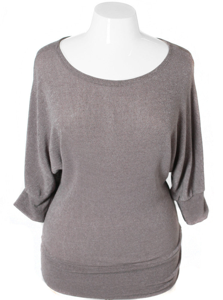 Plus Size Sexy Knit Bubble Olive Top