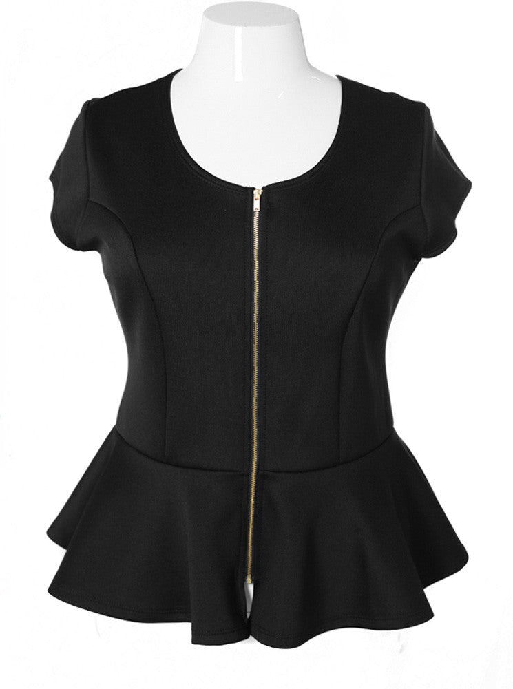 Plus Size Cap Sleeve Zipper Peplum Black Top