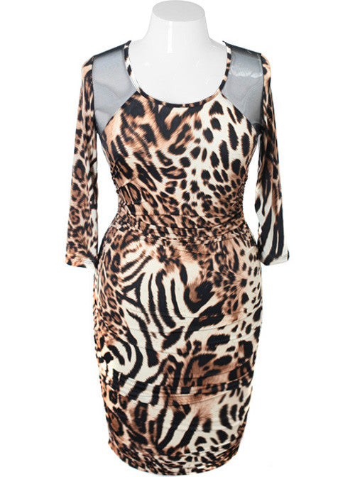 Plus Size Sexy Mesh Leopard Long Sleeve Dress