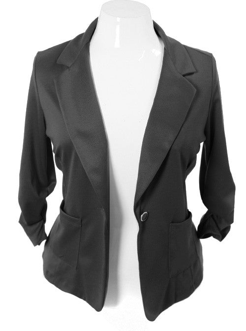 Plus Size Single Button Black Blazer