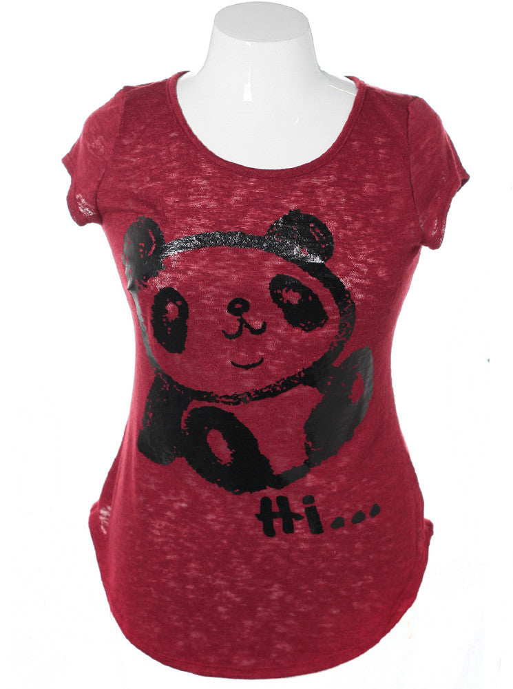 Plus Size Cap Sleeve Panda Rose Top
