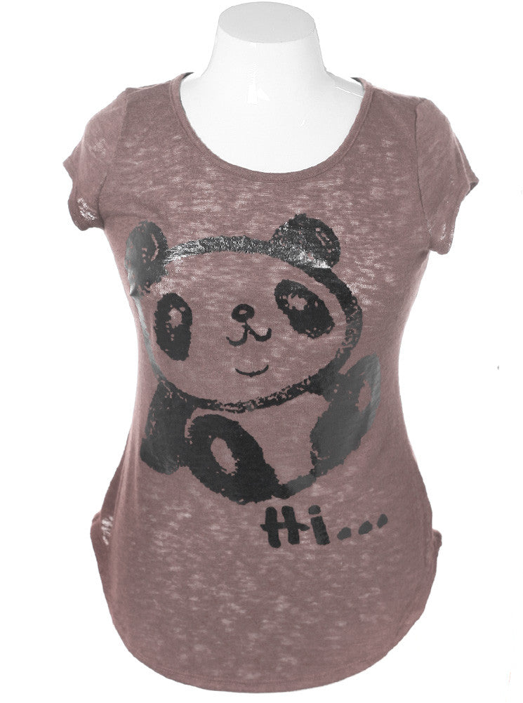 Plus Size Cap Sleeve Panda Taupe Top