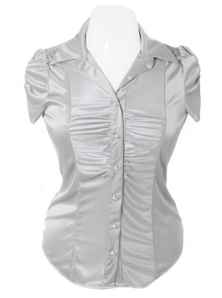 Plus Size Silky Diamond Button Silver Blouse