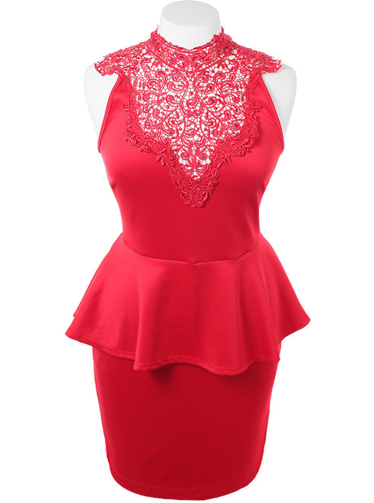 Plus Size Lattice Peplum Red Dress