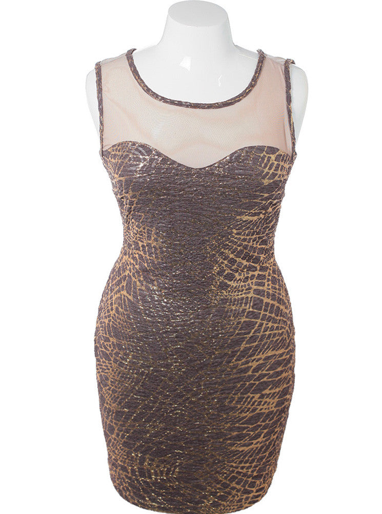 Plus Size Metallic Glitter Taupe Mesh Dress