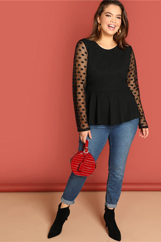 Plus Size Polka Dot Mesh Sleeve Peplum Top
