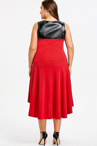 Plus Size Glam Faux Leather Panel High Low Flare Dress