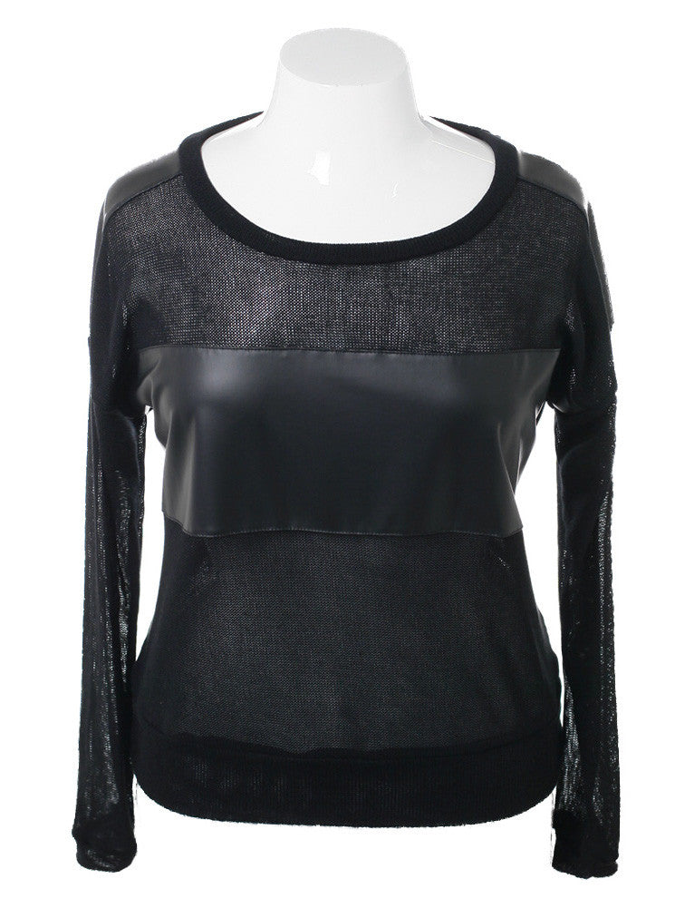 Plus Size Leather Panel Black Knit Top