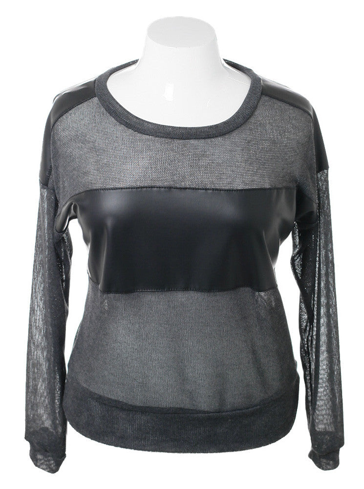 Plus Size Leather Panel Grey Knit Top