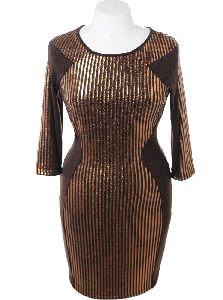 Plus Size Metallic Stripes Gold Sweater Dress