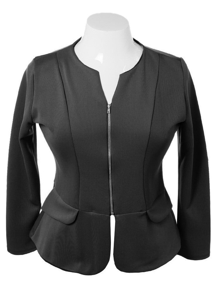 Plus Size Collarless Zip Up Black Blazer