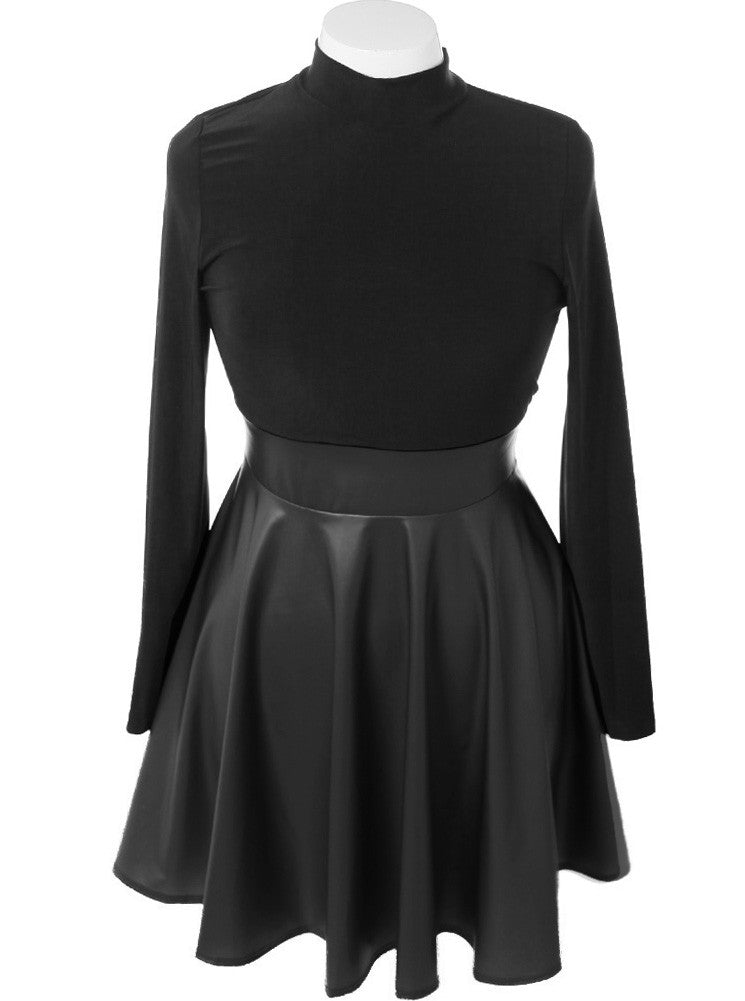 Plus Size Leather Skirt Long Sleeve Black Dress