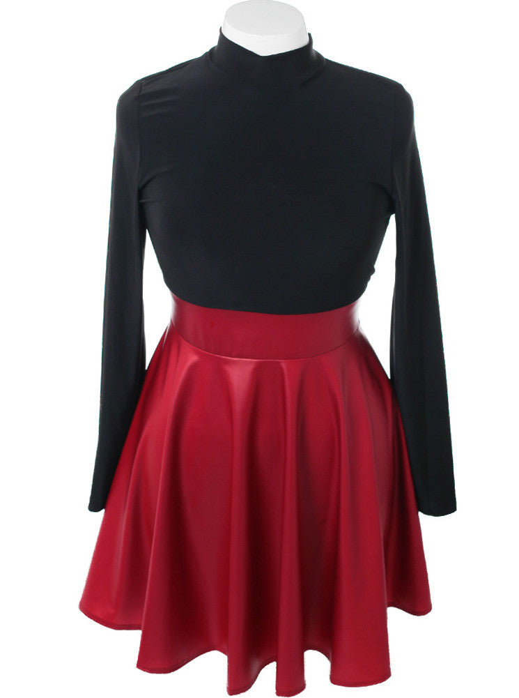 Plus Size Leather Skirt Long Sleeve Red Dress