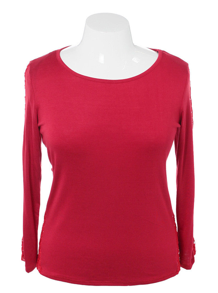 Plus Size See Through Back Knitted Red Top