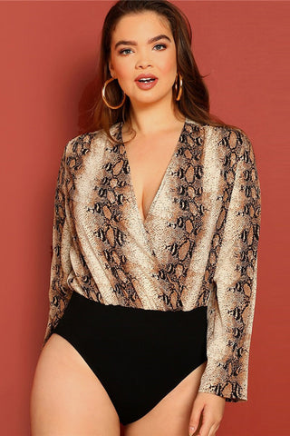 Plus Size Flirty Surplice Neck Snake Skin Print Bodysuit