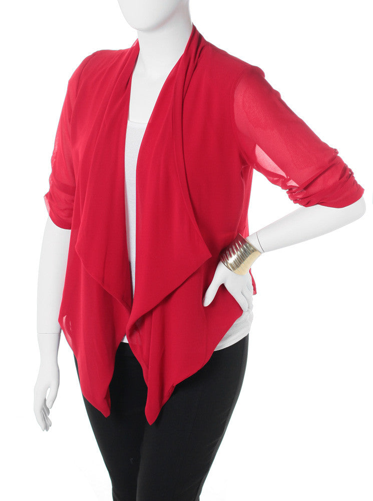 Plus Size Open Sheer Red Cardigan