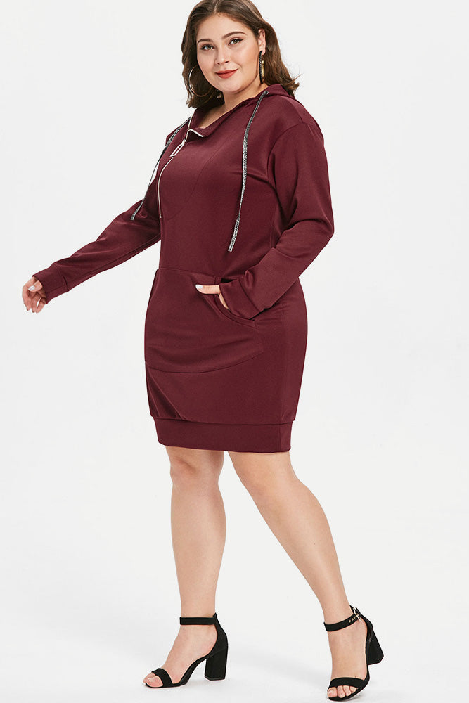 Plus Size Zip Hoodie Casual Long Sleeve Dress