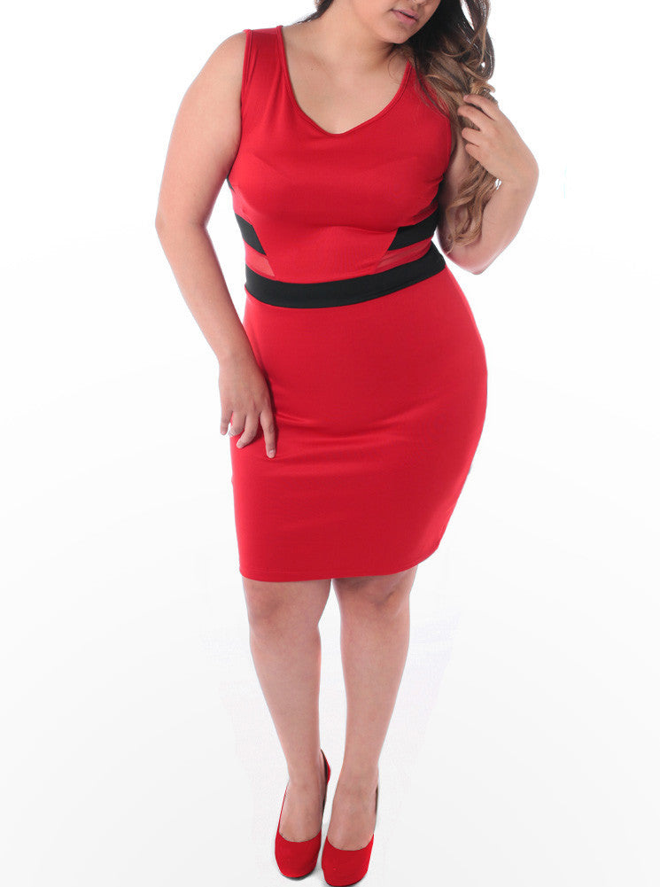 Plus Size Colorblock Scuba Mesh Red Dress