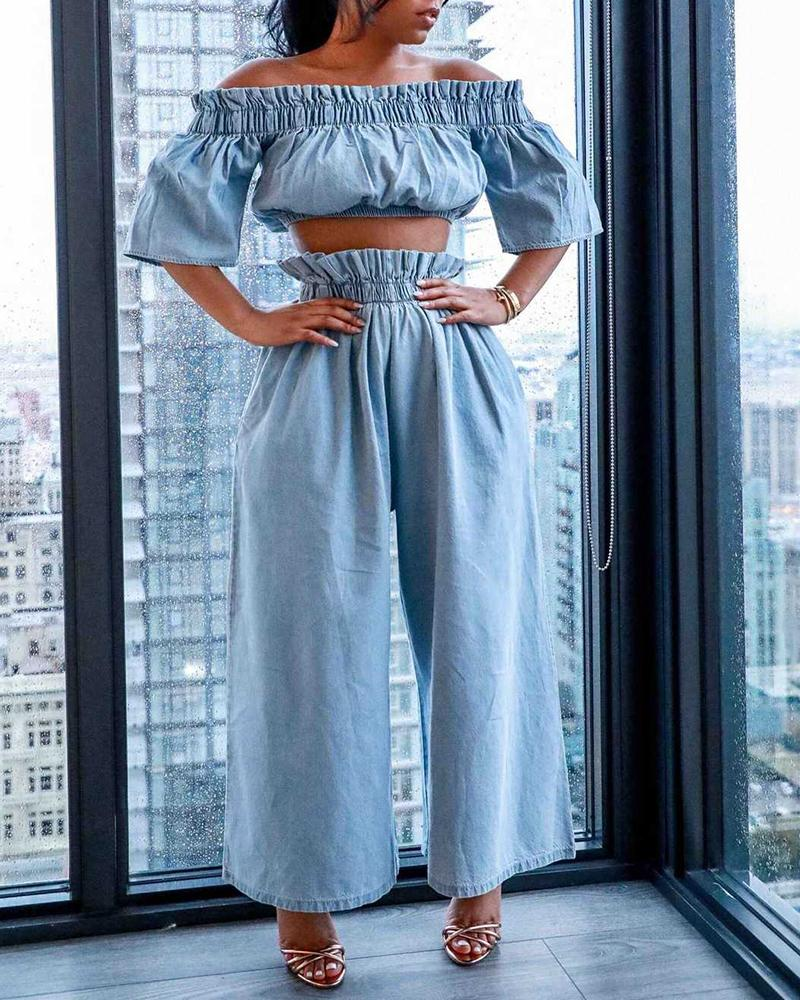 Plus Size Off Shoulder Frill Hem Denim Top & Pants Sets