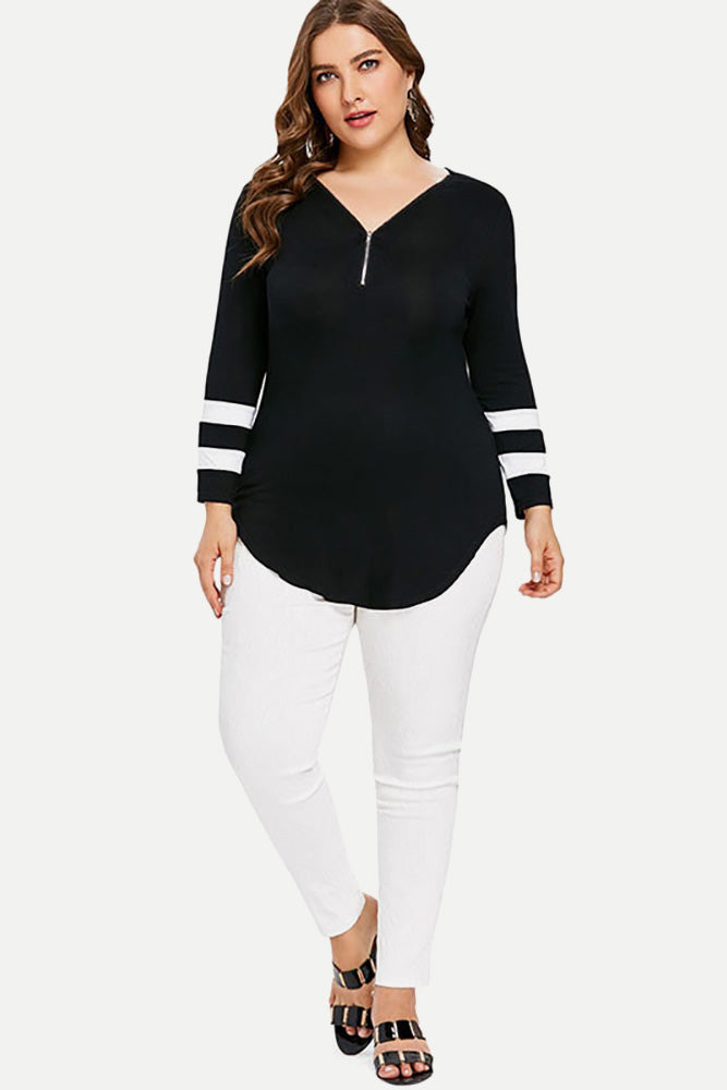 Plus Size Striped Zipper Long Sleeve Blouse