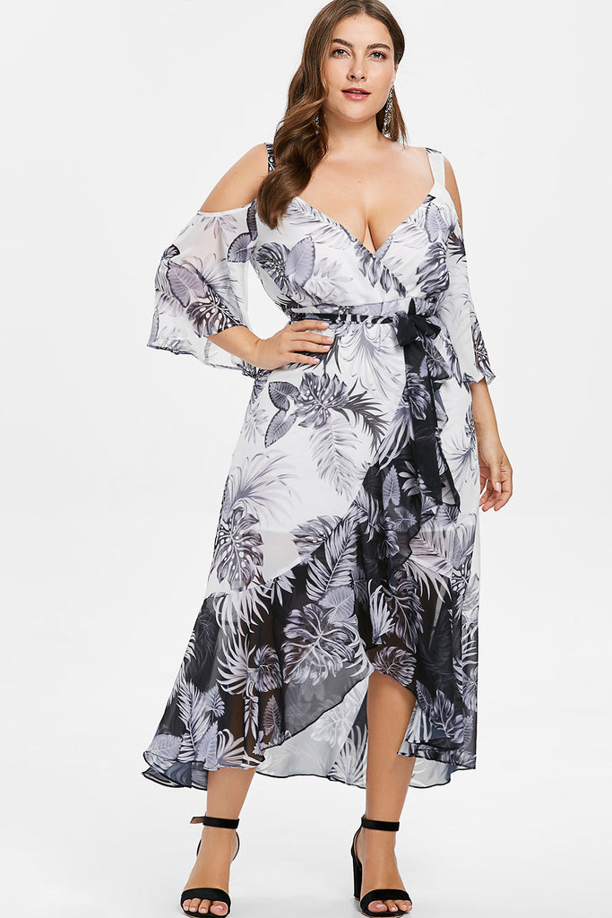 88b992700d1 Plus Size Flowy Cold Shoulder Floral Print Boho Wrap Dress – Plussizefix