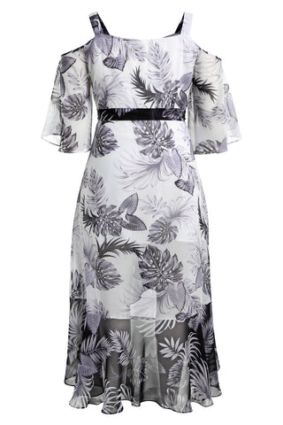 Plus Size Flowy Cold Shoulder Floral Print Boho Wrap Dress