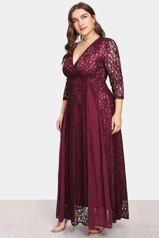 Plus Size Glistering Trapeze Sheer Overlay Wrap Lace Maxi Dress
