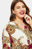 Plus Size Chic Chain Designer Print Buttoned Blouse Top