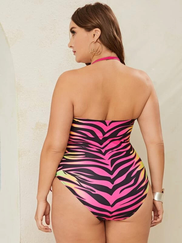 Plus Zebra Striped Halter One Piece Swimwear
