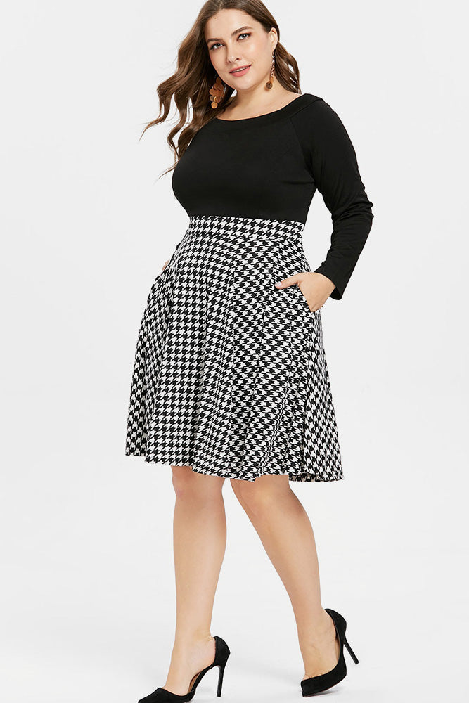 Plus Size Houndstooth Long Sleeve Flare Dress