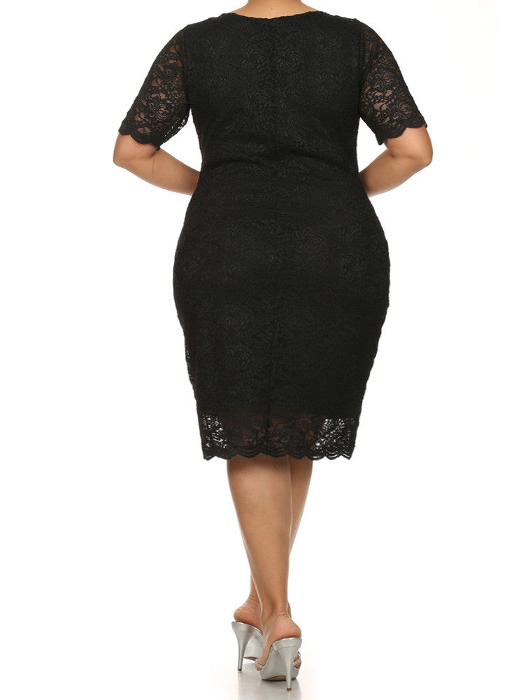 Plus Size Garden Party Lace Black Dress