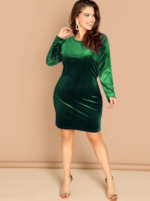 Plus Size Solid Velvet Drape Green Dress