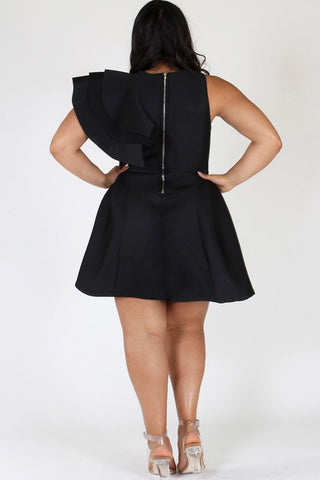 Plus Size Runway Tiered Techno Solid Dress