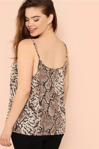 Plus Size Snake Skin Sleeveless Spaghetti Strap Top