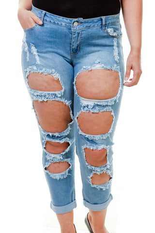 Plus Size Light Denim Ripped All Over Pants