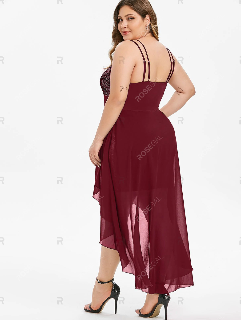 Plus Size High Low Sequin Maxi Cocktail Dress