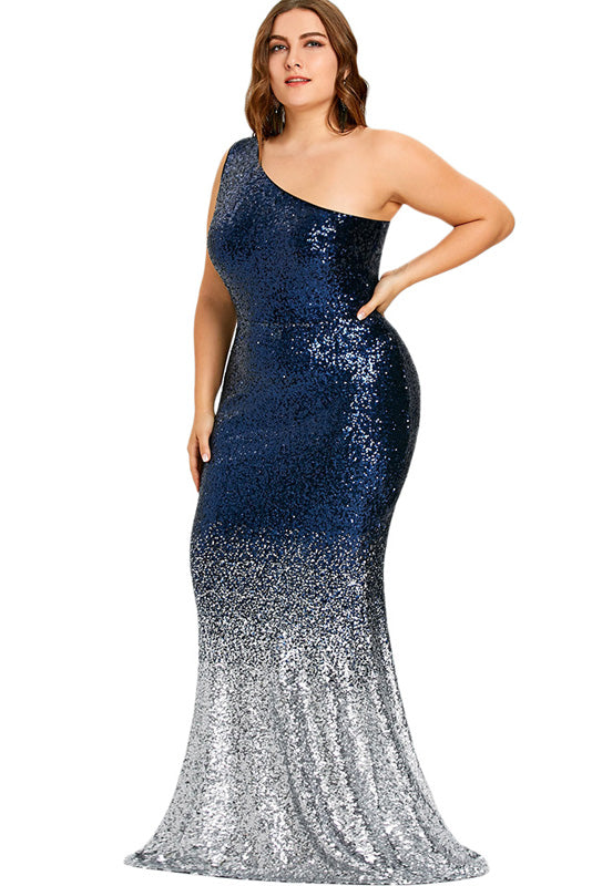 Plus Size Sparkling Sequin One Shoulder Mermaid Maxi Dress