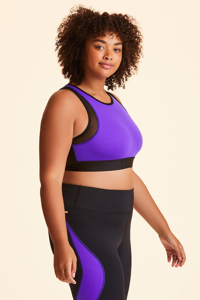 Plus Size Curve Bra styled with Edge Ankle Tight in Ultraviolet