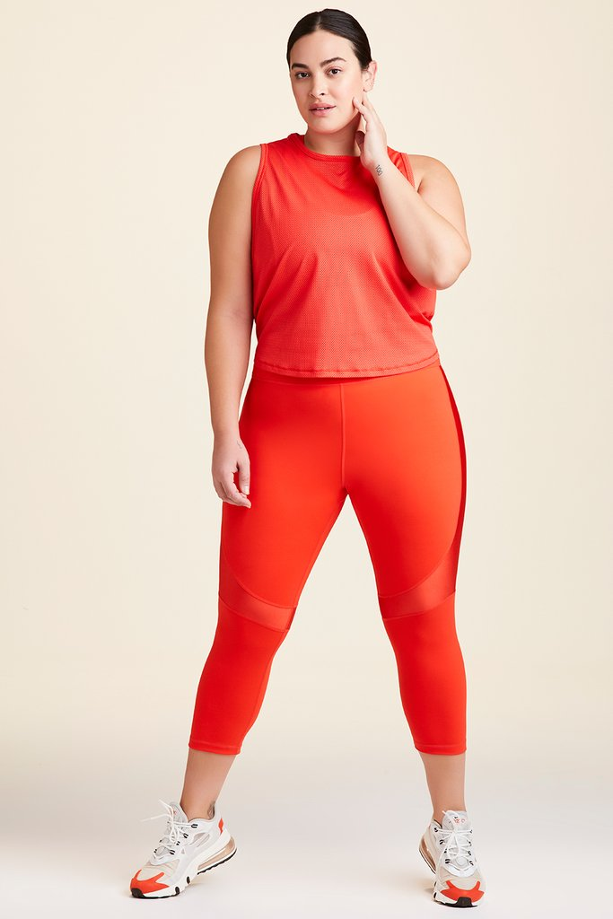 Plus Size Mesh Tank styled with Vamp Bra And Crop Vamp Tight in Lava