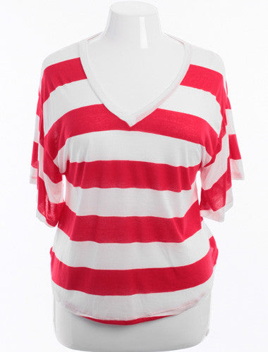 Plus Size Boyfriend V-Neck Striped Red Top