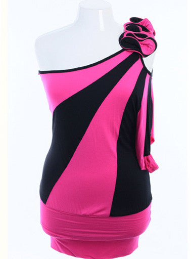 Plus Size One Shoulder Ruffled Black And Pink Bubble Top