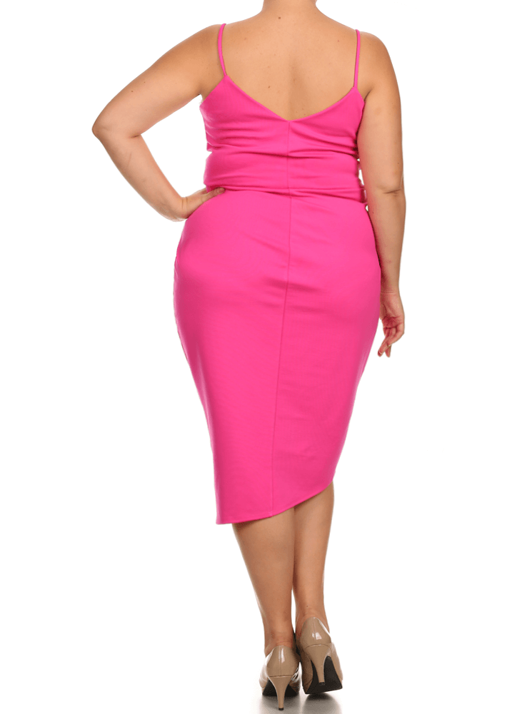 Plus Size Mesmerize In Pleats Pink Dress