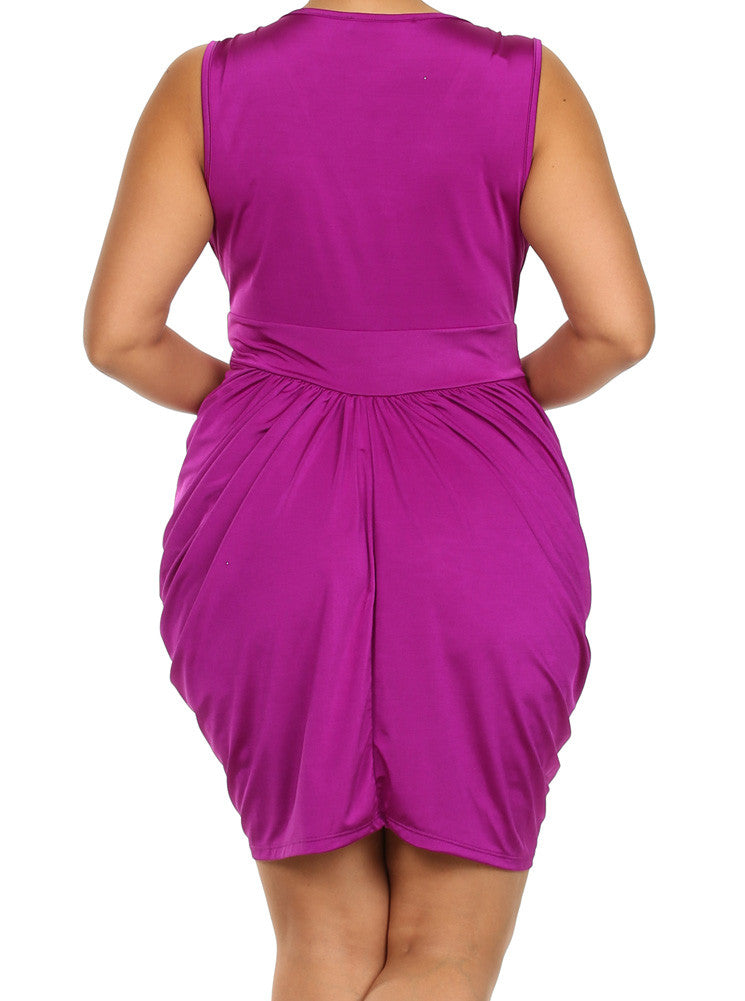 Plus Size V Neck Purple Bubble Dress