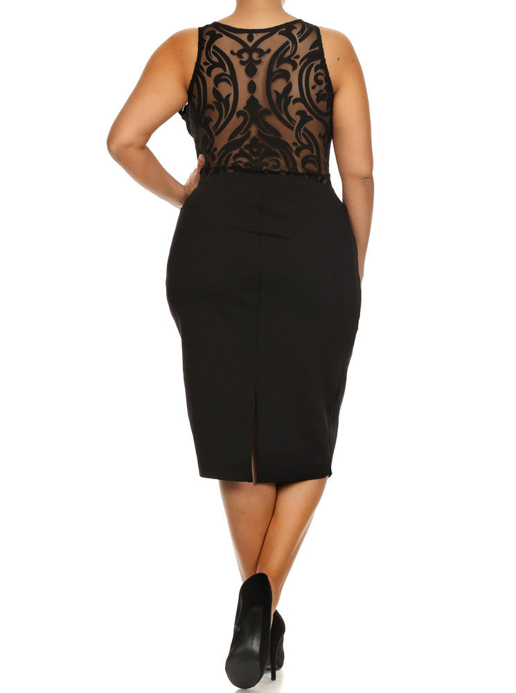 Plus Size Graceful Victorian Print Mesh Black Midi Dress