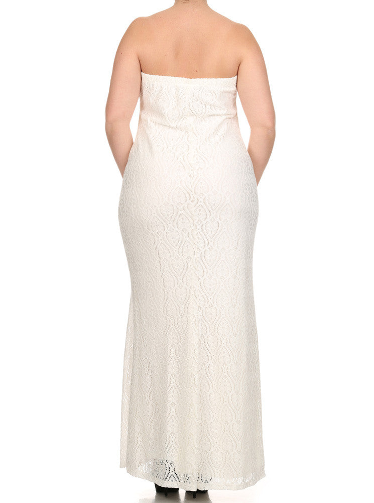 Plus Size Victorian Goddess Crochet White Maxi Dress