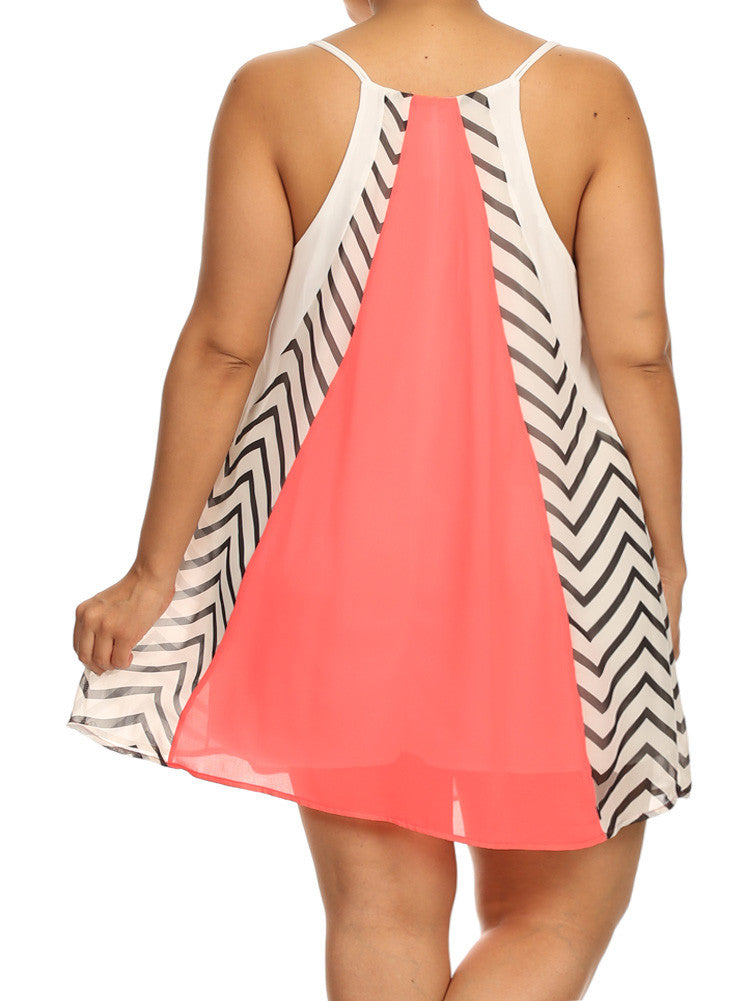 Plus Size Lovely Chevron Print Pink Frock Dress