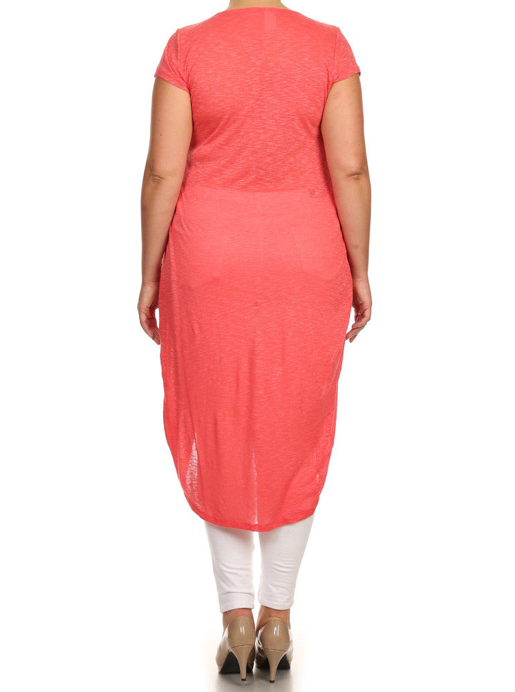 Plus Size Chic Knit Buttoned Coral Maxi Top