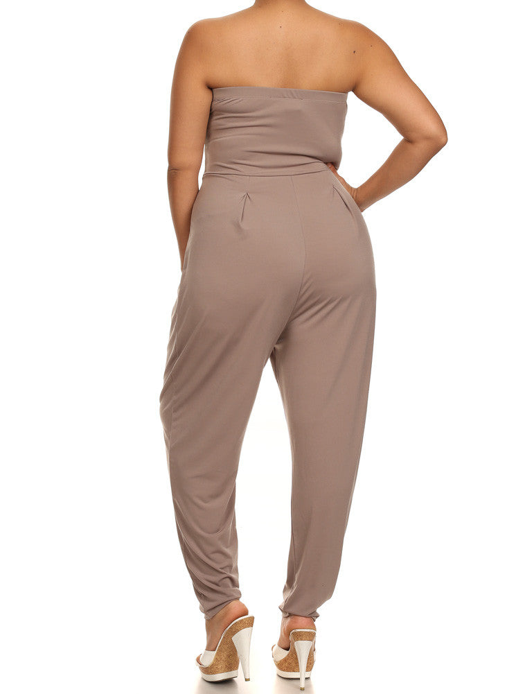 Plus Size Strapless Cross Over Taupe Jumpsuit