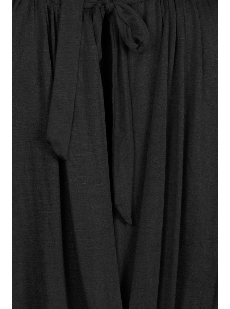 Plus Size Surplice Wrapped Black Blouse
